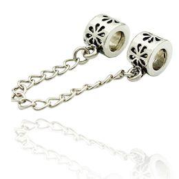 Wholesale 5mm Flower Beads - 5mm Big Hole Rhodium Plating Flower European Safety Chain link Bead Spacer Charm Fit Pandora Bracelet