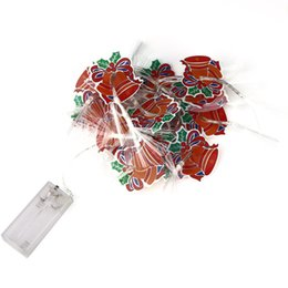 Wholesale Fiber Optic Christmas String Lights - Wholesale- AA Battery Powered 3.2M 20LED Santa Claus Christmas Decoration Bell Lights Fiber Optic String Light For Wedding Party Decoration
