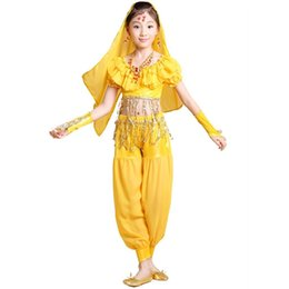 Wholesale Bollywood Dresses - 2015 New KID's Belly Dance Costumes Competition Wear Cloth Set 4 Pieces Top&Pants&Gloves&Veil Child Bollywood Indian Dress