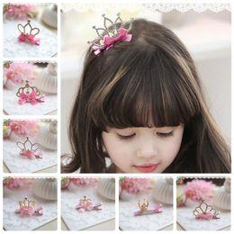 Wholesale Baby Tiara Crowns - Wholesale Cute Kids Hair Clips Crown Tiaras Accessories Kid Princess Flower Hair Bows 2016 Barrettes Baby Hair Accessories Rhinestone Beaded
