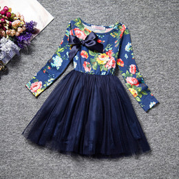 Wholesale korean winter dresses - Latested design korean children clothes long sleeve spring baby girls floral dress kids girl's princess cotton dresses girl veil tutu skirt