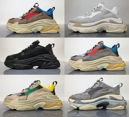 Wholesale Shoes For Men S - Double Box 2017 Top Qaulity Genuine Leather Triple S Classic Men's Women's casual shoes Sneakers Running Sport Shoes For Men