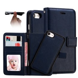 Wholesale phone cover photos - 2 in 1 Magnetic Detachable Wallet Leather Case For Iphone X 8 With Cards Slots Photo Frame TPU Phone Pouch Cover For Samsung S8 S8 plus