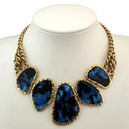 Wholesale choker bib necklace - Hot Sell Chunky Chains Bib Collars Choker Statement Necklace Women Vintage Jewelry With Acrylic Pendants,N613