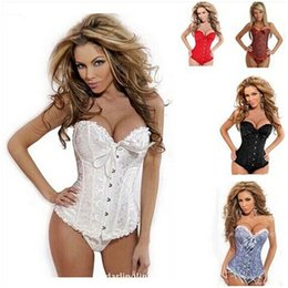 Wholesale Bustier Sets - 1 set dropship to USA Bustiers Black Satin Embroidered Corset Overbust Corsets + Tanga SIZE: S - 6XL new arrive!!dorp shipping