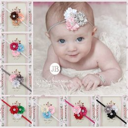 Wholesale Yellow Headbands For Children - Hot Selling Kids Headwears Girl Flower Hedbands Children Colored Ribbons Hair Bands For Christmas Paty Decoration Infant Baby Headbands 11Co