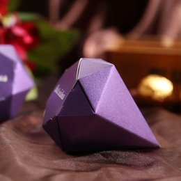 Wholesale Decoration Jewelry Box - 50pcs Diamond shaped Candy Box Gift Jewelry DIY Paper Boxes Wedding favors Gold Silver Red Purple