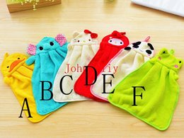 Wholesale Towelling Fabric For Babies - Wholesale hot Lovely Cartoon Animal Hand Dry Towel Nursery Hand Towel Soft Plush Fabric Wipe Hanging Bathing Towel for Kid use