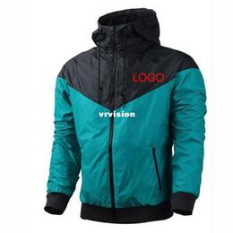 Wholesale Thin Jacket Men - Fall thin windrunner Men Women sportswear waterproof fabric Men sports jacket Fashion blue long sleeve zipper hoodie Free Shipping
