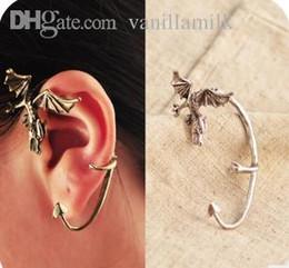 Wholesale Ear Cuff Dragon Mixed - Wholesale-Min order is $10(mix order)Fashion ear hook no pierced vintage punk dragon earring single ear cuff clip earrings women