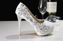 Wholesale Cheap Size 11 High Heels - 2016 New Cheap Fashion Luxurious Sparkling Pearl Crystals Wedding Shoes Custom Made Size 11 cm High Heel Bridal Shoes Party Prom Women Shoes