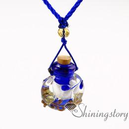 Wholesale lampwork perfume bottles - small perfume bottles lampwork glass aromatherapy pendants essential oil pendants necklace diffusers perfume pendant diffuser essential oil