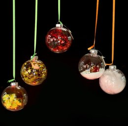 Wholesale Glass Tree Decorations - Transparent Glass Balls Christmas Tree Ornaments pendant decor Wedding Clear Ball Party Valentine's decorations DIY by yourself