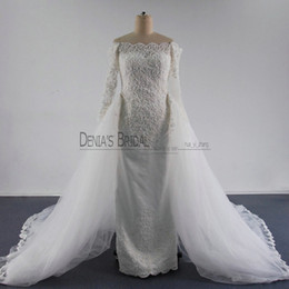 Wholesale Lace Over Satin Wedding Dress - 2016 Detachable Overskirts Wedding Dress Off Shoulder Beaded Applique Crystal over Satin Illusion Long Sleeves Chapel Train Bridal Gowns