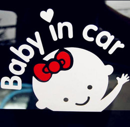 Wholesale Car Decals Baby Board - 2 PC 17*14 cm Baby On Board Baby In Car Car Sticker Waterproof Reflective Car Decal On Rear Windshield Wholesale