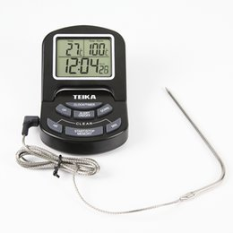 Wholesale Digital Temperature Sensors Display - Kitchen Probe Digital Thermometer Large LCD Screen Display Temperature Alarm Meter Wired External Sensor Electronic Clock Timer Magnetic