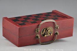 Juegos de ajedrez chinos online-Ejército chino estilo 32 piezas juego de ajedrez caja de madera juguete