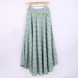 Wholesale Long Print Spring Skirts For Woman - Free shipping women long skirts Sakura print Blend Linen Long shirt casual Skirt for Spring Chinese Style Bohemian Skirts JE318