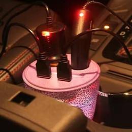 2019 steckdosen Großhandels-LED Auto-Ladegerät Cup Dual USB Car Charger für iPhone 6s / 7 Zigarettenanzünder Sockets Splitter für Auto GPS DVR Detektor rabatt steckdosen