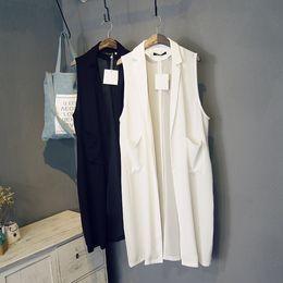 Gilet long en mousseline de soie en Ligne-2015 nouvel été style femmes casual blanc noir longue survêtement gilet veste blazer en mousseline de soie sans manches manteau colete feminino FG1511