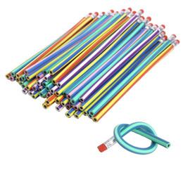 Escola divertida on-line-Lindo lápis macio dobrável colorido com borracha brinquedo Papelaria coreana Estudante Rewarding Gift Children School Diversão Equipamento
