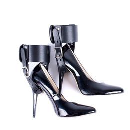 1 par de salto alto cinto de bloqueio sm engrenagem tornozelo cuff sapatos de salto alto restrições kit brinquedos sexuais para casais posicionamento bandag de
