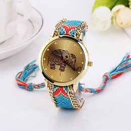 Wholesale Watch For Women Handmade - Fashion 2015 Braided Design Rainbow Color Dress Quartz Watches for ladies girls women Wrap Elephant Watch colorful handmade knit bracelet