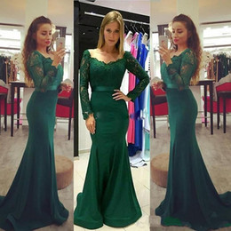 Wholesale Gold Fishtail Prom Dresses - 2018 Modest Dark Green Long Sleeves Evening Party Dresses Lace Stain Elegant Long Mermaid Fishtail Formal Prom Gowns Vestidos de Noiva