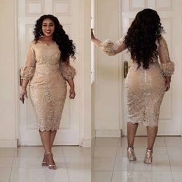 2019 New Sexy Plus Size abiti da cocktail gioiello collo Applique Zipper tè lunghezza Prom Dress Fashion Champagne Pretty Woman Party Dress 173 da abito da sposa glitter backless blu indietro fornitori