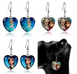 Wholesale Resin Stud Earrings - Fashion Cartoon Stud earing Frozen Elsa Anna Earrings Princess Charms Frozen Jewelry for Children Kids Girls Pendants Drop Frozen Earrings