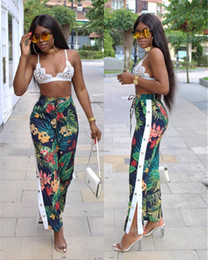 Wholesale Floral High Waist Pants - Women High Waist Floral Print Trousers 2017 Summer Autumn Chic Side Button Wide Leg Pants Slim Full Length Pants CL322