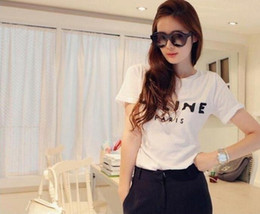 Wholesale Simple Cotton Shirt Women - Free shipping Fashion Paris womens clothing Solid & Simple letters printed t shirts shirts