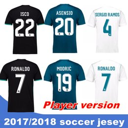 Wholesale Soccer Player Jersey - 2017 18 Top Real madrid Player version soccer Jerseys Free patch RONALDO Home Away Third BALE RAMOS ISCO MARCELO MODRIC Football Shirts