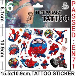 Wholesale Size Kids Legging - Spiderman Tattoos Stickers Spiderman Temporary Tattoos Spiderman Body Tattoos Kids Cartoon Tattoos size: 15.5cmx10.9cm H0367a