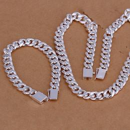 2020 conjunto de collar pulsera de plata de los hombres Alto grado de plata de ley 925 '10MM Cuarteto hebilla de lado pieza - Los hombres de la joyería de DFMSS101 directo de la fábrica 925 pulsera collar de Silve conjunto de collar pulsera de plata de los hombres baratos