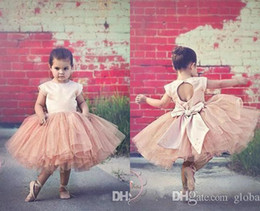 Wholesale Show Girls Dresses - Pink Flower Girls Dresses Ball Gown Cap Sleeve Tulle Buyer Show Jewel Keyhole Big Bow Cute Fairy Party Dance Dress