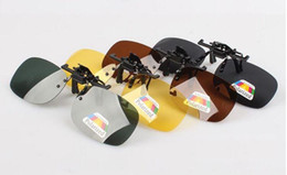Wholesale Frameless Clips - Night-yellow sunglasses Clip Myopia Polarized Unisex Ultra-light Lens On Sunglasses UV400 Driving goggles With packaging Free DHL FedEx