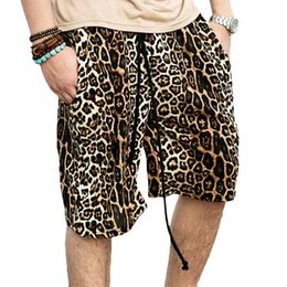 Wholesale Punk Swimwear - Wholesale-Swag Leopard Shorts Men Summer Board Surfing Swimwear Shorts Hip Hop Casual Shorts Punk Clothing Coffee Color 4 Sizes