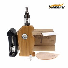 Wholesale Wooden Box Mod E Cig - E cig K600 Wooden Box Mod Kit Electronic Cigarette 100%Original Kamry K600 Mechanical Mod Kit Handle Shape With X6 V2 Atomizer 18650 battery