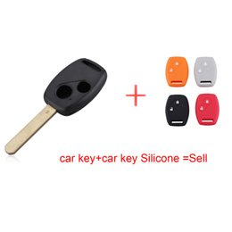 Wholesale Honda Uncut Key - Replacement Keyless Remote Key Fob Shell Uncut Blade 2 Button For Honda Black Free shipping with car key Silicone