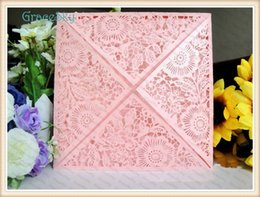 Wholesale Paper Holiday Cards - 50PCS Free shipping Laser Cut Lace Flowers Floret Design Paper Hollow Out Wedding Business Party Invitation Card with Inner Paper Sheet
