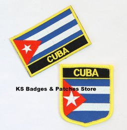 Wholesale Iron Patches Flags - Free Shipping Cuba Flag Embroidery Iron on Patch 2pcs per Set