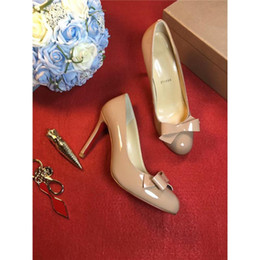 Wholesale Nude Bow Heel - 2017Louboutin Luxury Brand Christian Red Bottoms Shoes Nude Sneakers for Women Party Wedding Heels Shoes Red Bottoms Bow Tie Dress Shoes