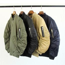 Wholesale Men Navy Baseball Jacket - Fall-MA1 Flight Bomber Jacket Men Black Army Military Navy Baseball Jacket High Street Fashion yeezus Tour Kanye West Jacket S-XL