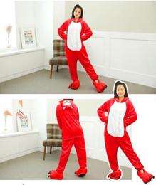 Wholesale Cheap Men Pajamas - winter Warm O raccoon dog onesies Coral Fleece Ali Cheap Pyjamas Costume fox pattern cosplay Velvet jumpsuits Pajamas