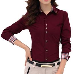 Vestido de oficina profesional de las mujeres online-2015 Otoño Nueva Patchwork Plaid Mujeres Camisas de Oficina Damas OL Básico Top Blusas Blusa Camisa de Vestir Ocupación Profesional CS4526