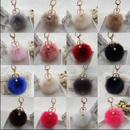 Wholesale bags for cars - Faux Rabbit Fur Ball Pompon Keychain Trinket Fluffy Pom Pom Pearl Key Chain Women Key Ring Holder For Bag Car Jewelry Gift KKA3183