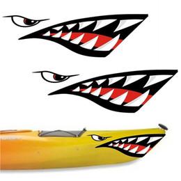 tubarão de vinil Desconto 1 Par 38 * 13 CM À Prova D 'Água DIY Engraçado Dentes de Tubarão Boca Vinil Adesivo de Carro Decalque Auto Tubarão Animal Car Styling Decoração