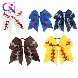 """Wholesale Large Bows For Hair - 20 Pcs  Lot 7 """"Solid Ribbon Baseball Cheer Bow With Glitter For Girls Kids Handmade Large Elastic Hairband Hair Accessories"""