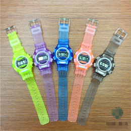 Wholesale Digital Watch Blue Lcd - Silicone Watch Sport Kids Watches Boys Girls Students Time Clock Electronic Digital LCD Digital-watch Gift